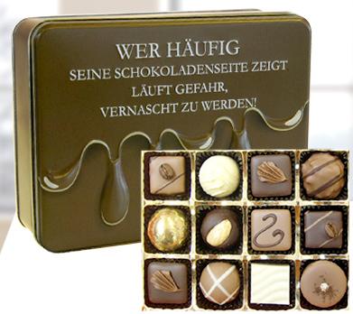 """Präsentdose """"Schokoladenseite... """""""
