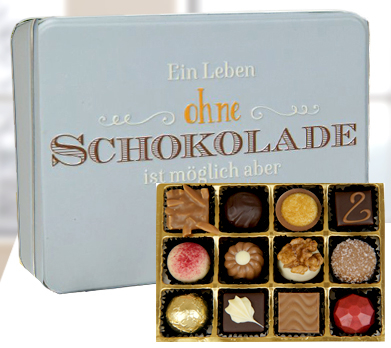 """Präsentdose """"Ein Leben ohne Schokolade..."""""""